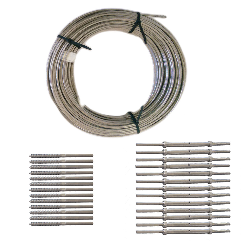 Wood Lag and Turnbuckle Cable Railing Kit